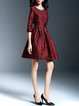Wine Red Elegant Floral Embroidered Midi Dress