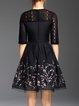 Plus Size Elegant Floral A-line Guipure Lace Midi Dress