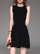 Black Sleeveless Plain Knitted Wool Mini Dress