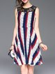 Multicolor Polyester Crew Neck Stripes Elegant Lace Mini Dress