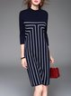 Black Stripes Printed Simple Crew Neck Knitted Midi Dress
