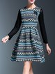 Elegant Geometric Long Sleeve Cotton-blend Midi Dress