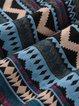 Elegant Geometric Long Sleeve Cotton-blend Midi Dress