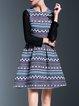 Multicolor Geometric Elegant Beaded Midi Dress