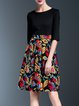 Paneled Elegant 3/4 Sleeve Floral Midi Dress