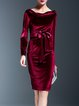 Solid Velvet Crew Neck Elegant Long Sleeve Midi Dress With Belt