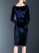 Royal Blue Velvet Solid Cowl Neck Elegant Midi Dress With Belt