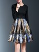 Elegant Floral Cotton-blend Long Sleeve Midi Dress
