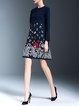 Cotton-blend 3/4 Sleeve Embroidered Elegant Floral Midi Dress