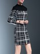 Black Checkered/Plaid Bodycon Paneled Midi Dress