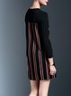 Black Elegant Stripes Polyester Color-block Mini Dress