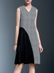 Gray Paneled Checkered/Plaid V Neck Casual Midi Dress