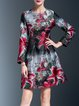 Floral-print Polyester Long Sleeve Vintage Midi Dress