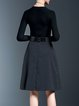 Black Polyester Checkered/Plaid Long Sleeve Knitted Midi Dress