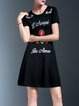 Black Cotton-blend Paneled Floral Elegant Mini Dress