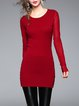 Crew Neck Long Sleeve Simple Tunic