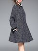 Deep Gray A-line Pockets Long Sleeve Mini Dress