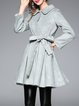 Green Pockets Folds Plain Long Sleeve Coat with Belt