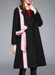 Black Casual Appliqued Long Sleeve Plain Coat