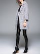 Gray Brushed Elegant Pockets Lapel H-line Coat