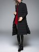Slit Stand Collar Plain Vintage A-line Down Coat