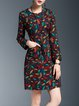 Multicolor Pockets Cotton-blend Crew Neck Vintage Midi Dress
