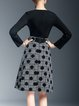 Black Long Sleeve Pockets Polka Dots Midi Dress With Belt