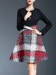 Red Elegant Geometric Paneled Midi Dress