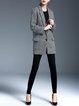 Black Lapel Long Sleeve Ribbed Coat