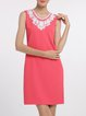 Plus Size Crew Neck Elegant Sleeveless Solid Crochet-trimmed Midi Dress