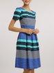 Blue Elegant Cotton Crew Neck Folds Midi Dress