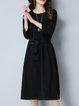 Black Solid Long Sleeve Slit Midi Dress