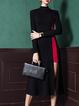 Black-red Midi Dress Asymmetrical Going out Long Sleeve Paneled Dress
