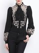 Embroidered Shirt Collar H-line Long Sleeve Blouse