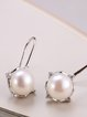Silver Round Pearl Earrings