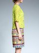 Light Green Half Sleeve H-line Boho Dress