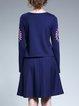 Dark Blue Elegant Cotton A-line Printed Midi Dress
