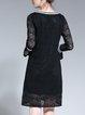 Crew Neck Guipure Lace Long Sleeve A-line Elegant Midi Dress