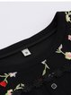 Black Bell Sleeve Floral-embroidered Crew Neck  Midi Dress