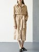 Khaki Cotton Long Sleeve Trench Coat With Belt