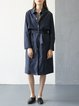 Long Sleeve Buttoned Cotton Casual Plain Trench Coat With Belt