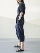 Navy Blue Half Sleeve Plain Crew Neck Jumpsuit