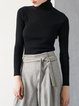 Black Long Sleeve Plain Knitted Turtleneck Wool blend Sweater
