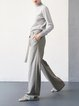 Gray Simple Wool Blend Solid Wide Leg Pants With Belt
