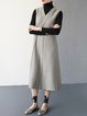 Black Wool Blend Casual Folds Solid Wide Leg Pants With Belt