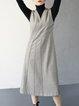 Black Appliqued V Neck Wool Blend Sleeveless Midi Dress