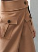 Camel Plain Pockets Simple A-line Midi Skirt