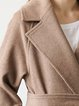 Camel Buttoned Long Sleeve Wool Blend Lapel Coat With Belt