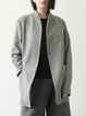 Pockets Long Sleeve Simple Wool blend Solid Coat