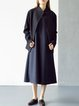 Stand Collar Wool Blend Casual Long Sleeve Solid Coat